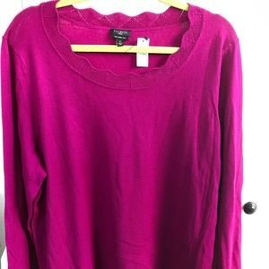 NWT Talbots Scalloped Neckline Pink Sweater 2X